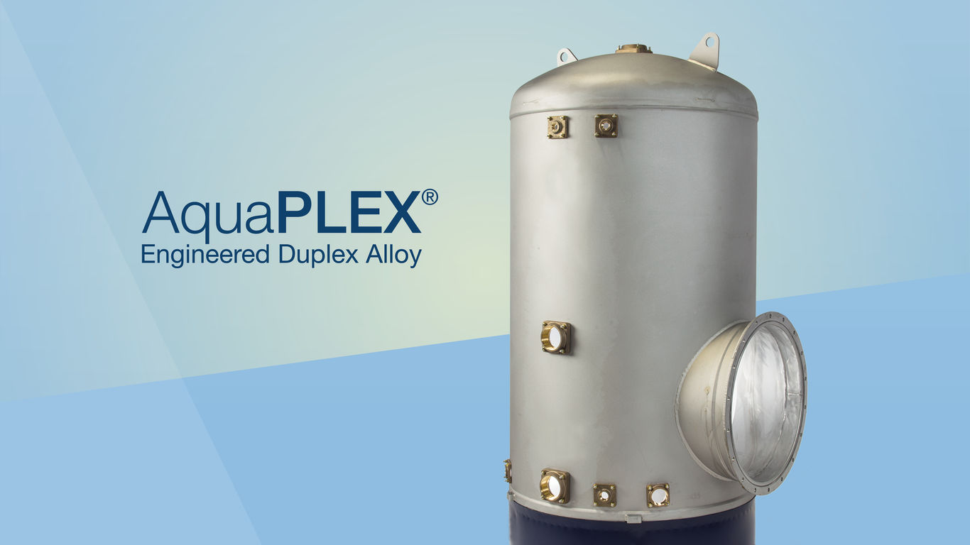 Dark text on a light background: 'AquaPLEX® Engineered Duplex Alloy'